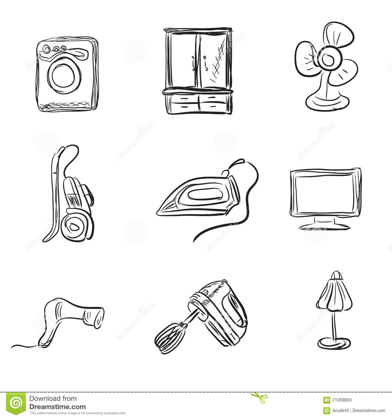 Illustration household appliances stock photo for Household appliances design
