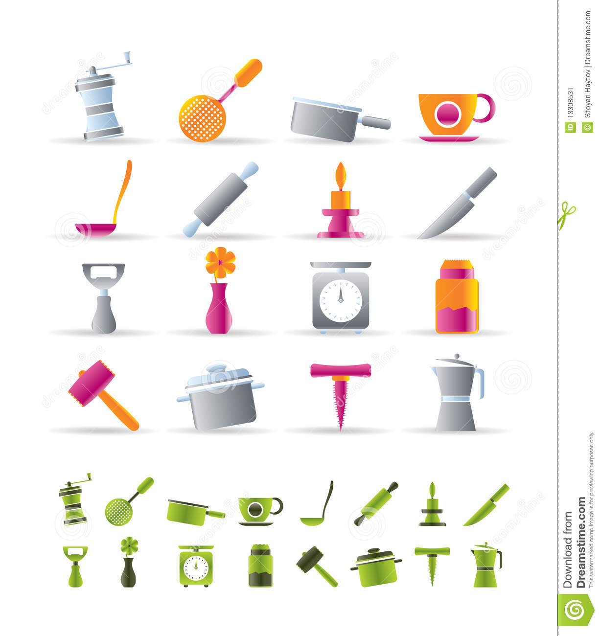 Kitchen and household tools icons stock image image 13308531 - Household tools ...