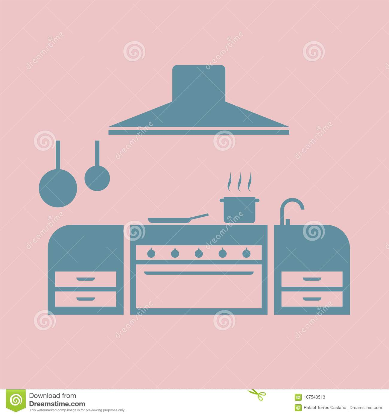 Kitchen icon stock vector. Illustration of house, drawing - 107543513