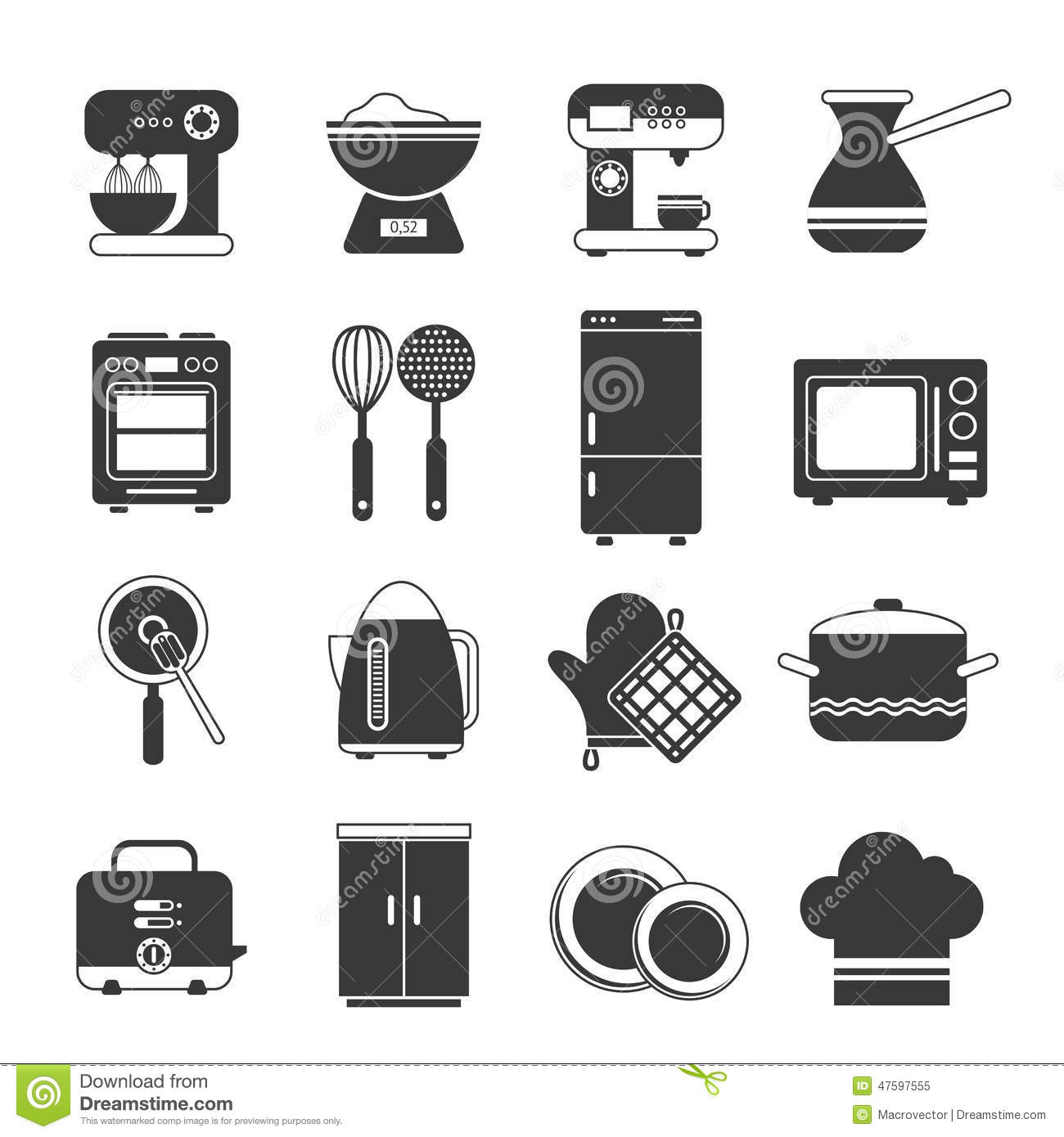 Kitchen Icons Black And White Set Stock Vector