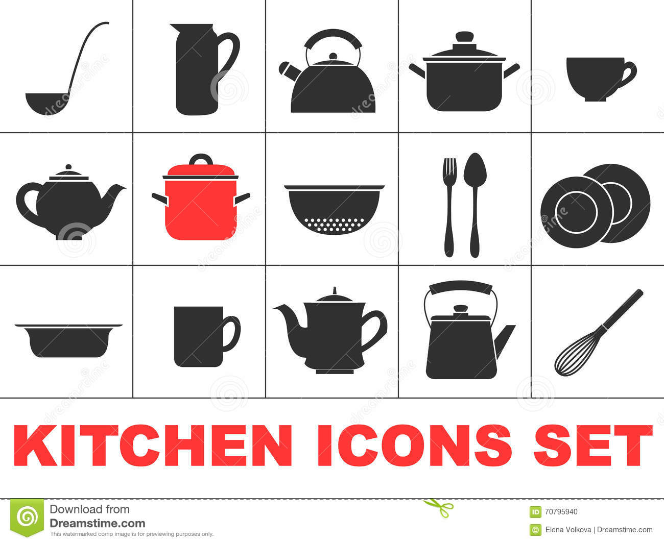 Kitchen icons set stock vector image of plate kettle for Kitchen set vector
