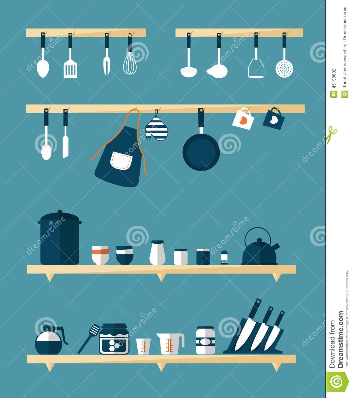 Kitchen icons vector stock vector image 45199692 for Kitchen set vector