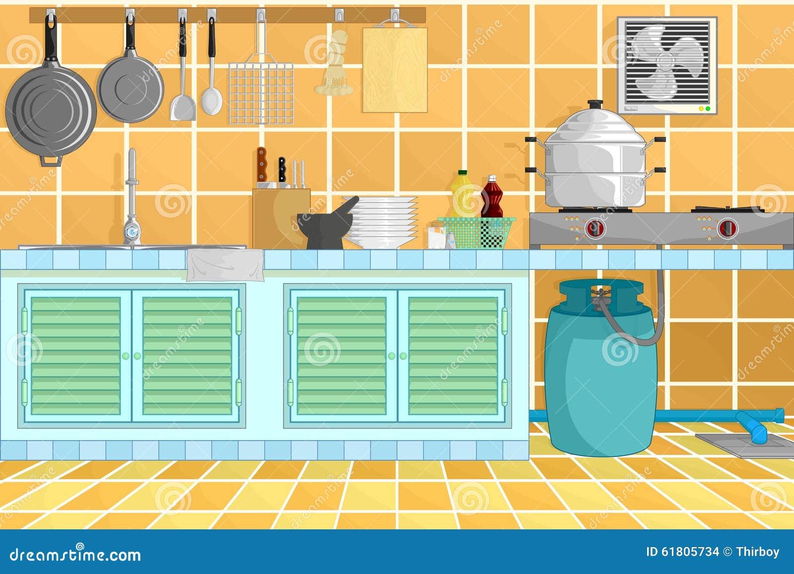 Kitchen Interior Background With Kitchenware. Vector Illustration ...