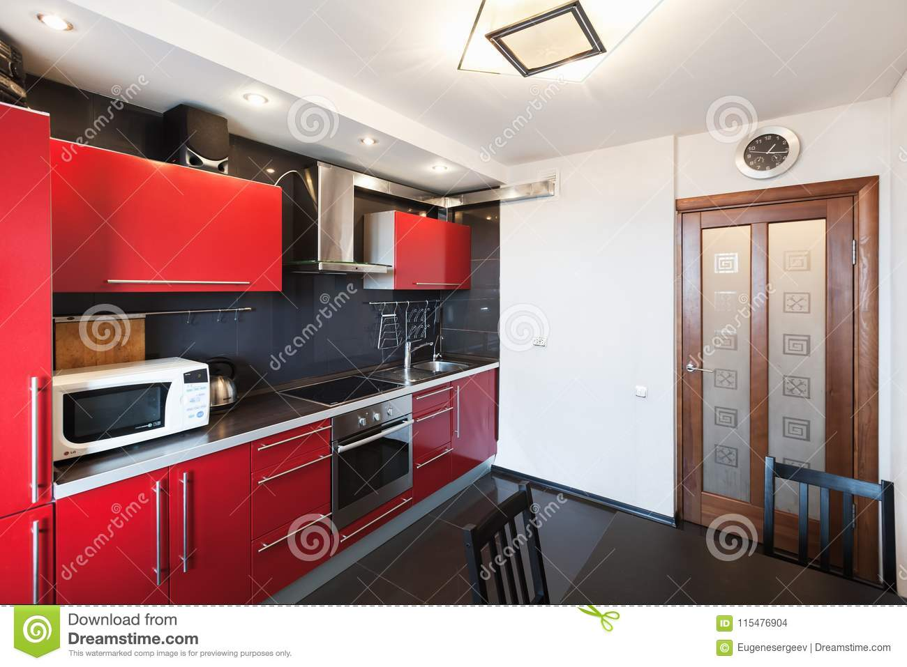 Kitchen Interior. Black, Red And White Design Stock Photo ...