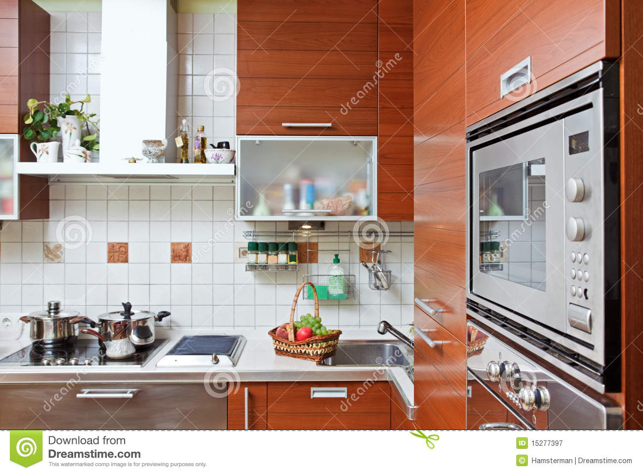 Kitchen Microwave Kitchen Interior With Build In Microwave Oven Royalty Free Stock