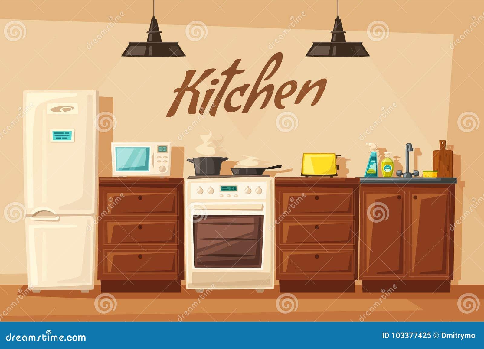 Kitchen Interior With Furniture. Cartoon Vector