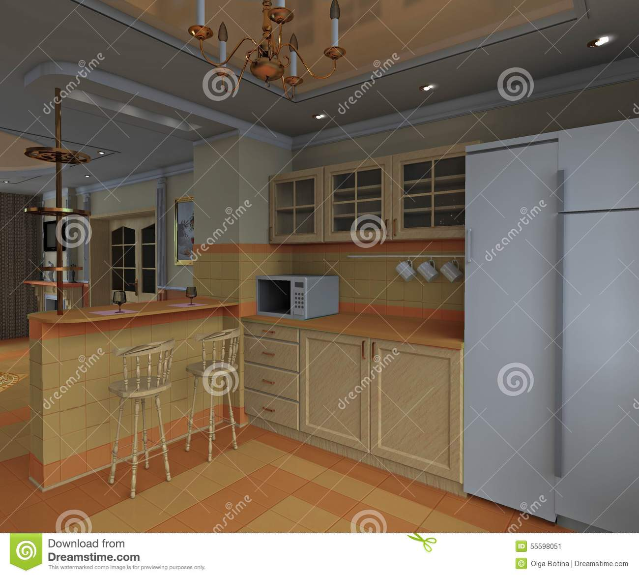 Kitchen interior stock photo image 55598051 for Kitchen dining hall design
