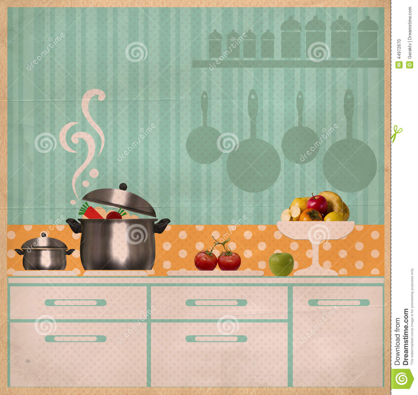 Kitchen Interior Collage.Retro Card On Old Paper Stock Illustration ...