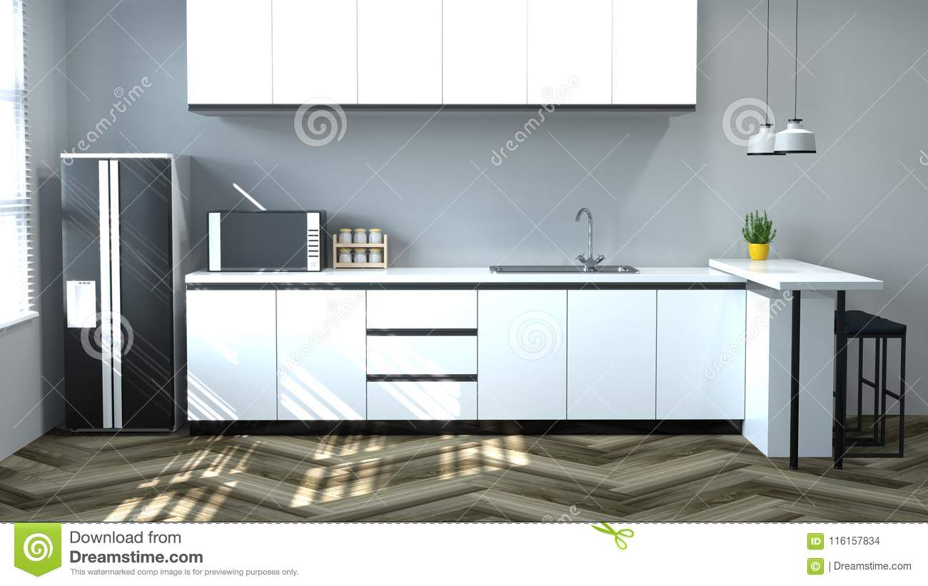 Kitchen Interior Cooking White Table, Chair, Lamp, Modern ...