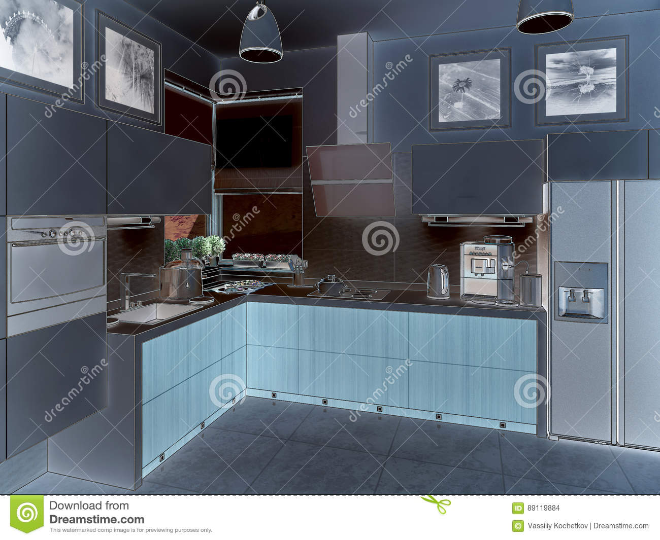 Kitchen Interior. 3d Illustration, Render. Stock Photo - Image of ...