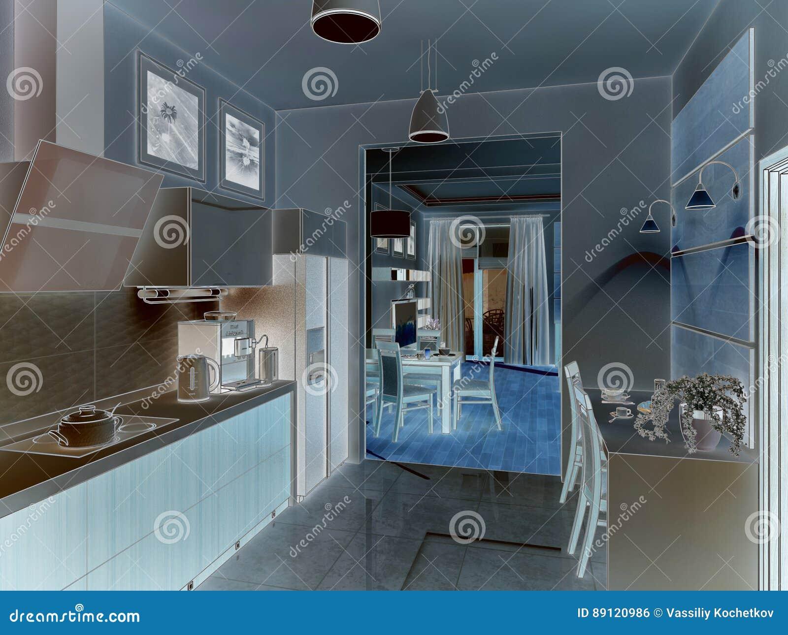 Kitchen Interior  3d Illustration, Render  Stock Photo