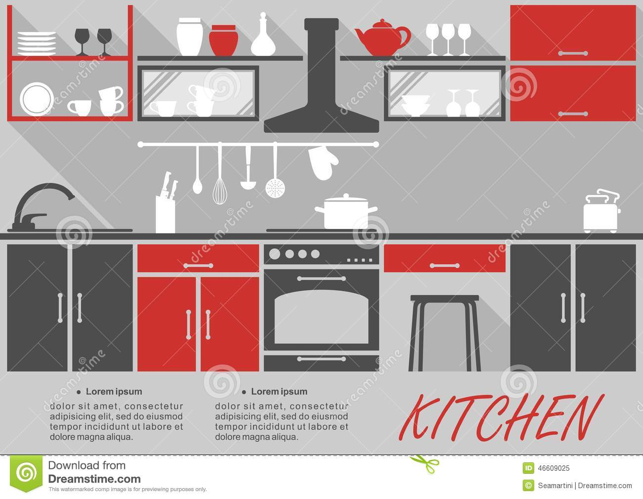 Kitchen interior decor infographic stock vector image for Kitchen designs that stand the test of time