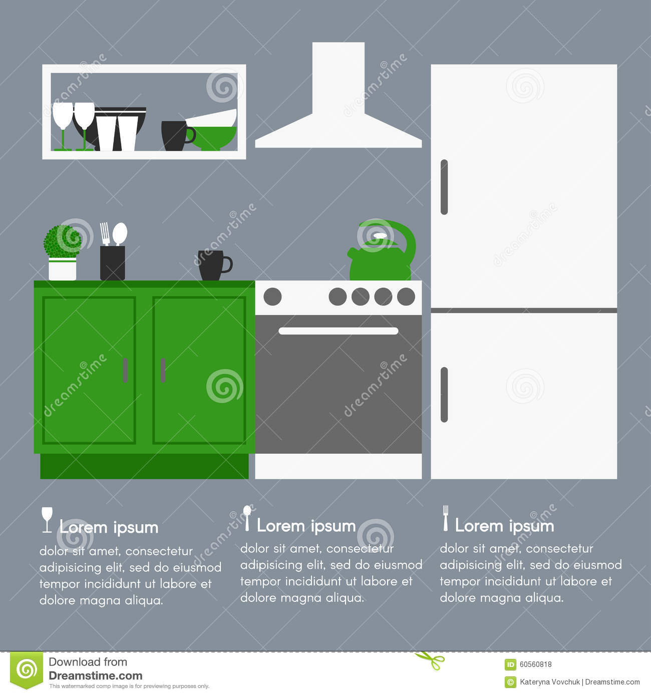 Kitchen interior design with template text stock vector for Text table design