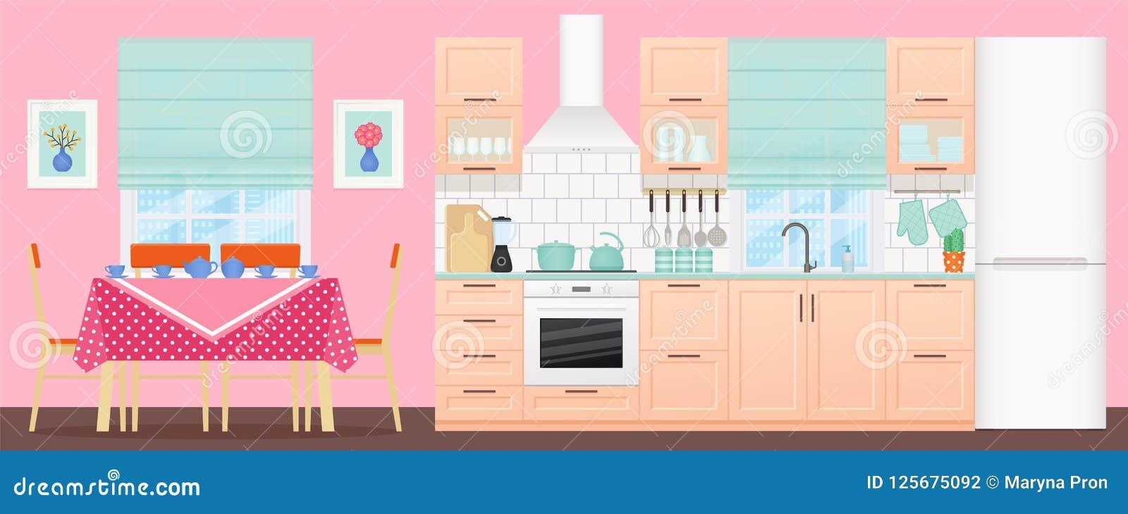 Kitchen Interior With Dining Area Vector Illustration Flat Design