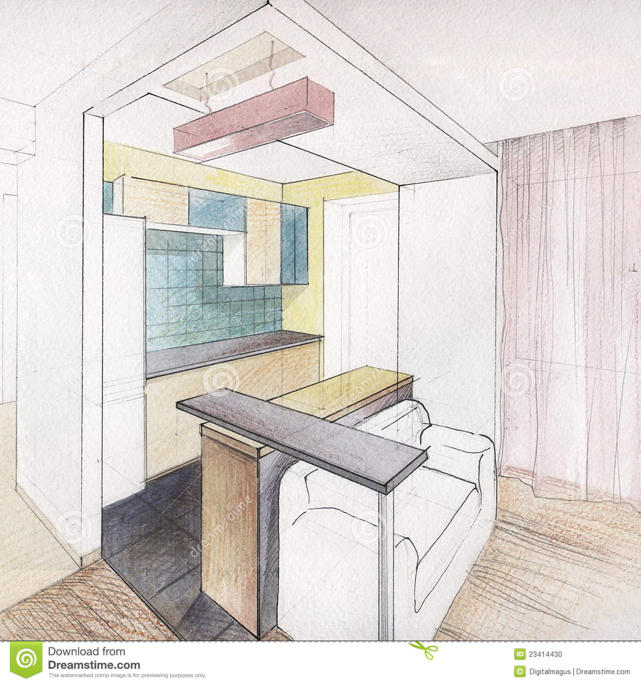 Kitchen interior drawing stock illustration image of for Interior designs kitchen sketches