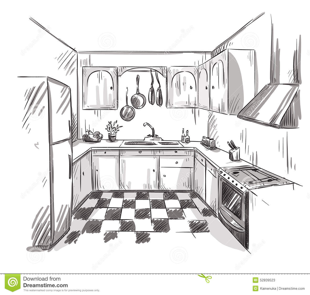 The Kitchen Sink Art Drawing Sketch Sketchbook By: Kitchen Interior Drawing, Vector Illustration Stock Vector