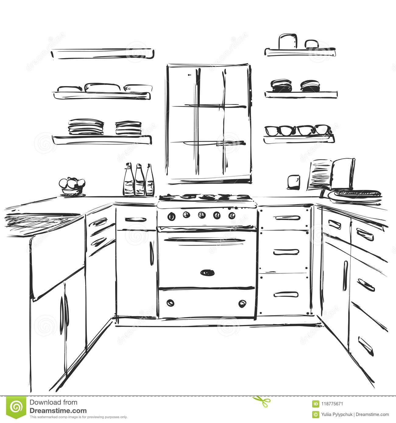 Kitchen Interior Drawing Furniture Sketch Stock Vector