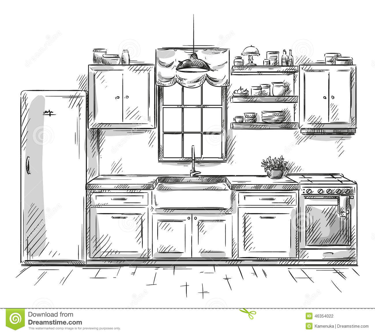 Kitchen Interior Drawing, Vector Illustration Stock Vector