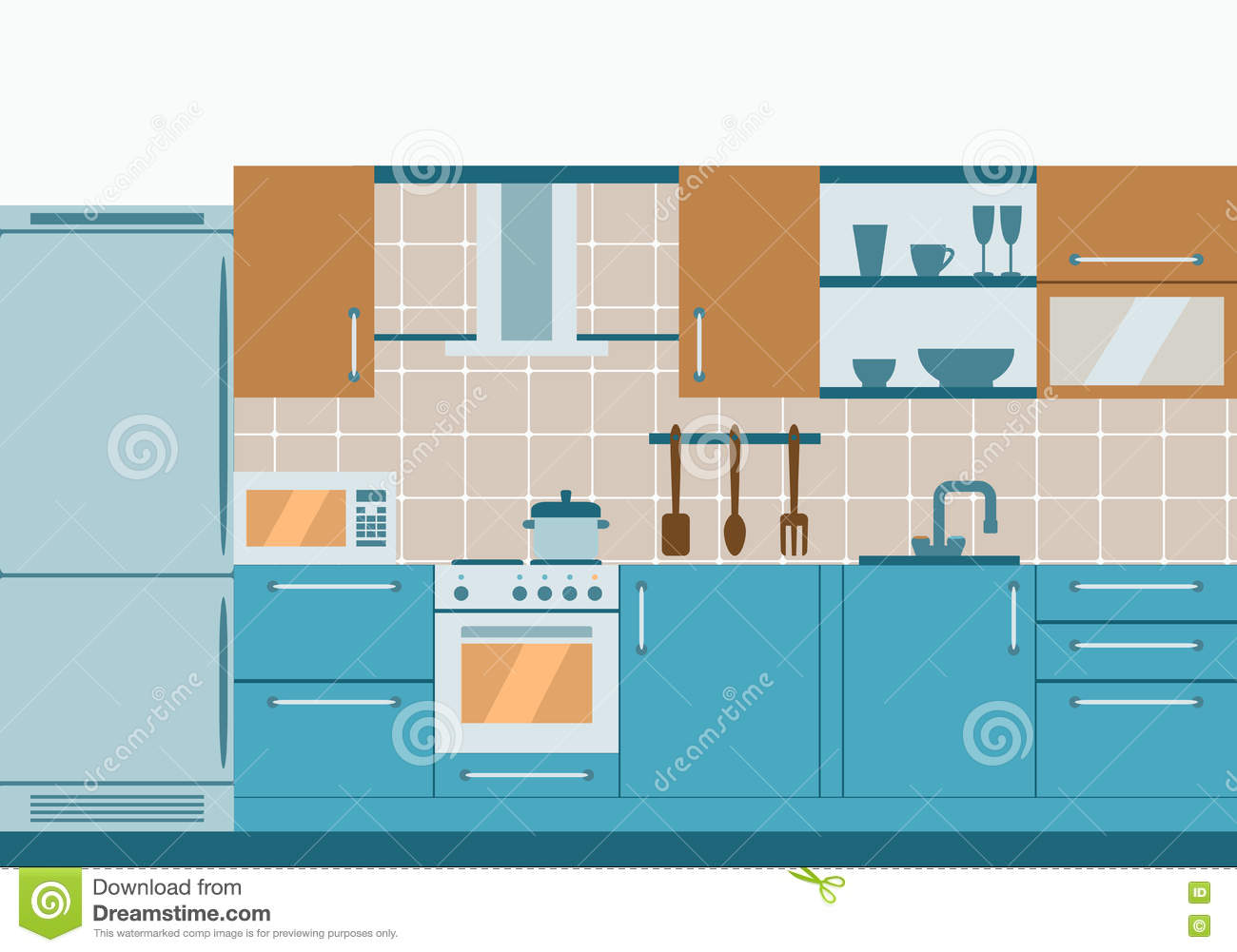 Kitchen Interior Flat Design With Home Furniture And Kithenware - Kitchen front design