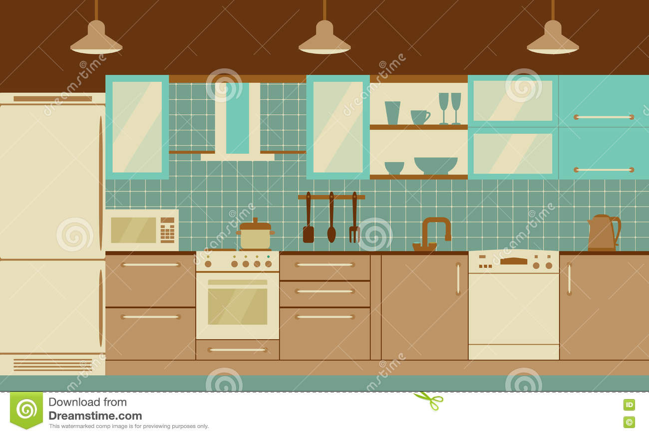 Kitchen Interior Flat Design With Home Furniture And Kithenware. Front  View. Vector Illustration.