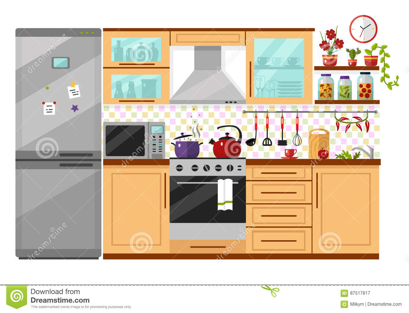 Kitchen interior stock vector illustration of drawing for Kitchen design vector