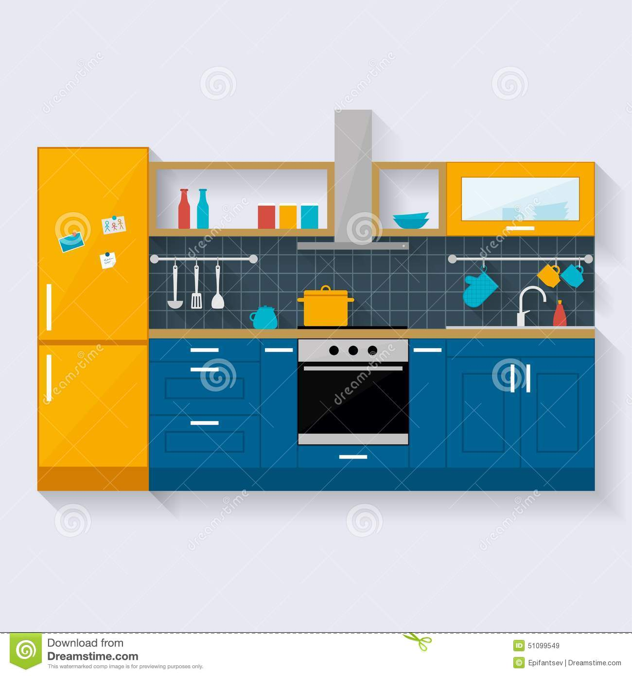 Kitchen Interior Flat Style Illustration Stock Vector