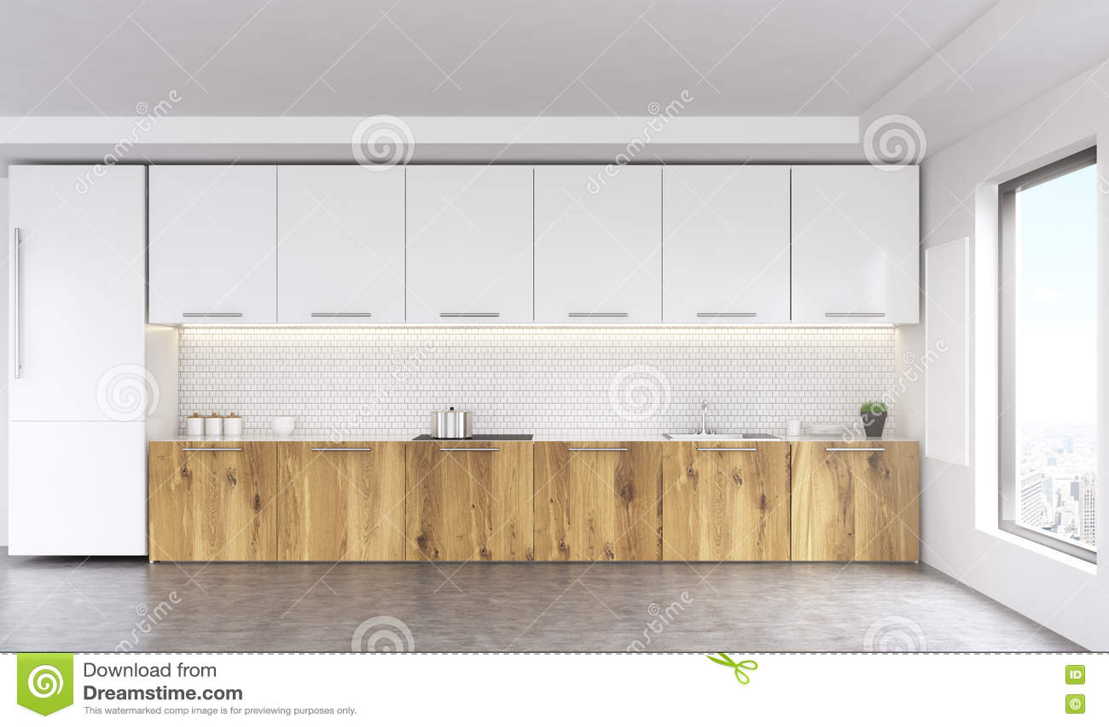 Blank Kitchen Wall Kitchen Interior Front Stock Illustration Image 72417288