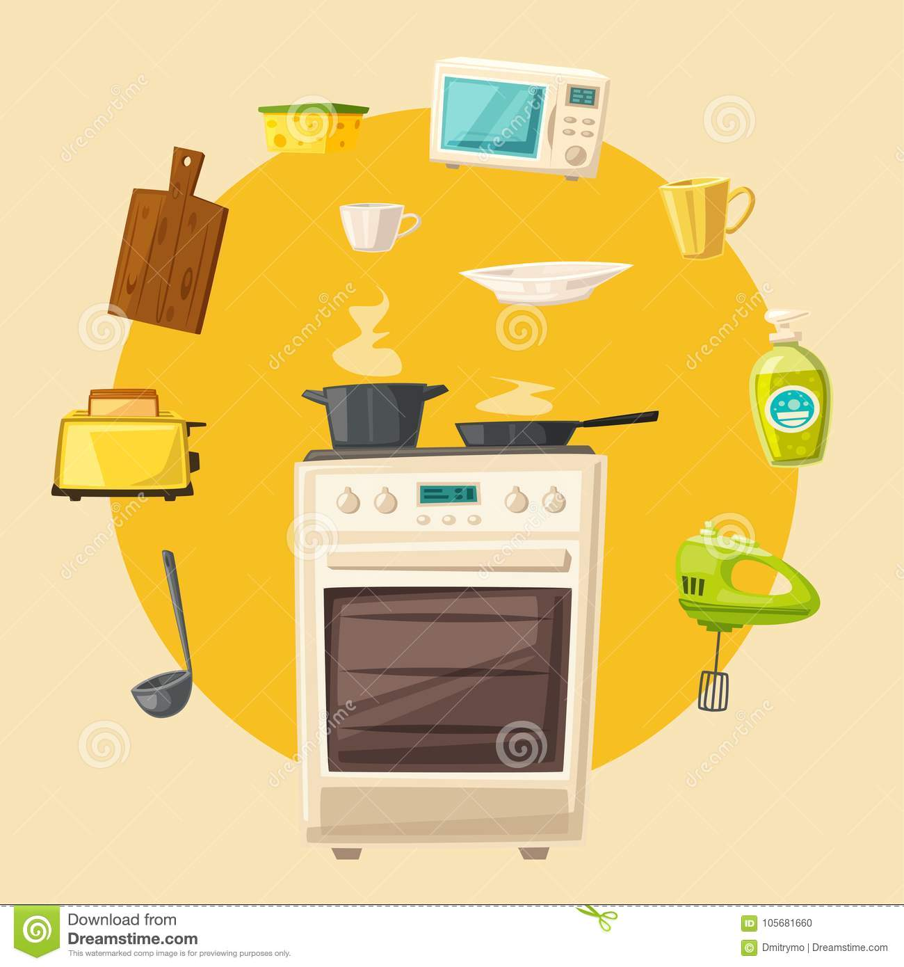 Cartoon Kitchen Furniture: Kitchen Interior With Furniture. Cartoon Vector
