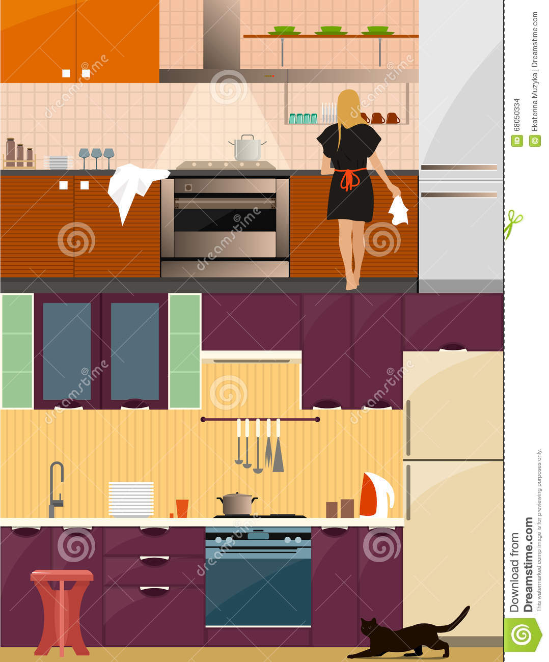Kitchen interior with furniture in flat style design for Interior decoration tools