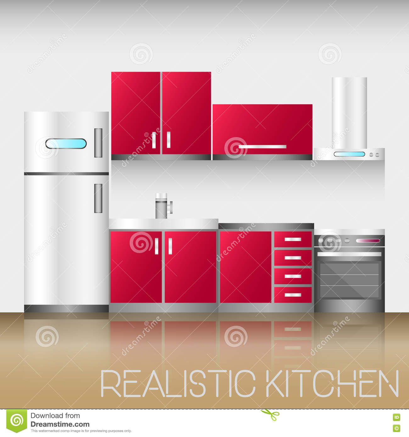 Kitchen Interior With Furniture In Realistic Style Modern Vector Illustration Stock Vector