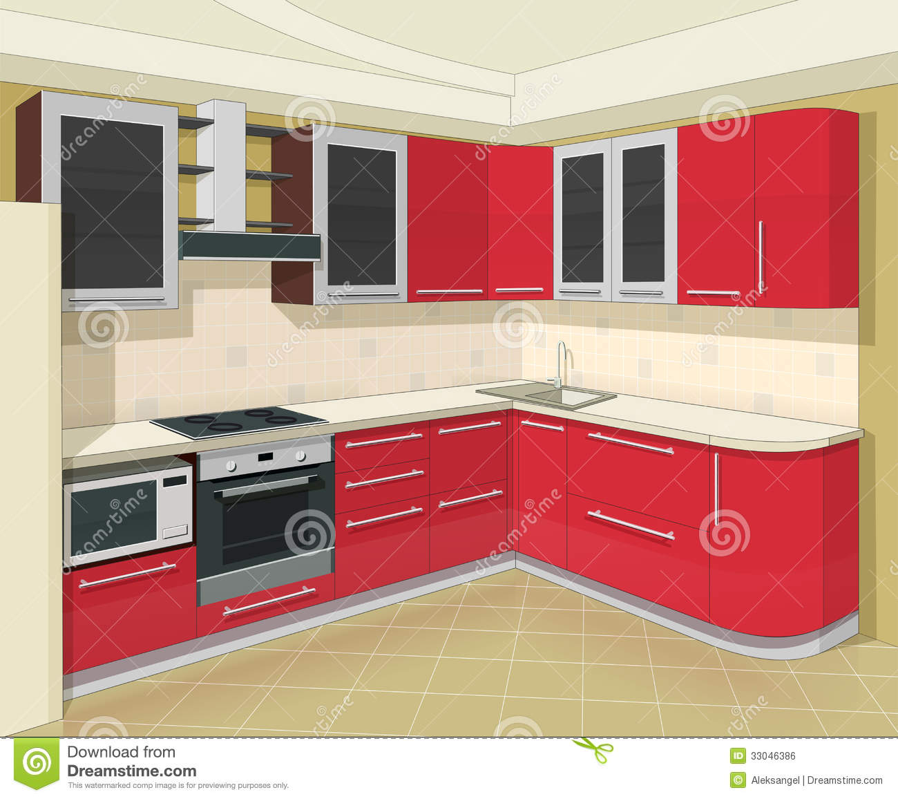 Kitchen Interior With Furniture Stock Vector Illustration Of