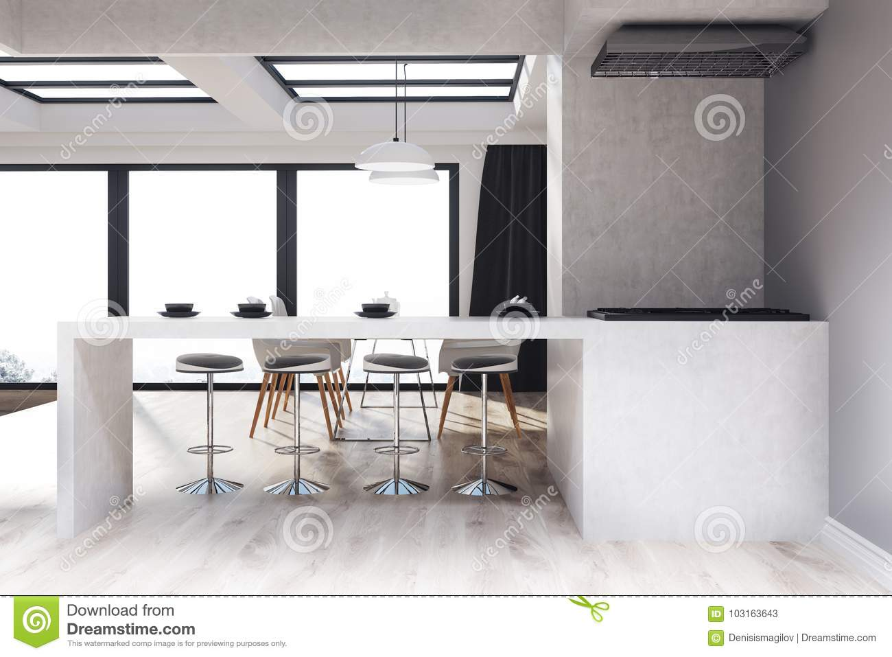 Kitchen Interior With Gray And Concrete Walls A Dining Table Cahirs Bar Stand Stools Wooden Floor 3d Rendering Mock Up