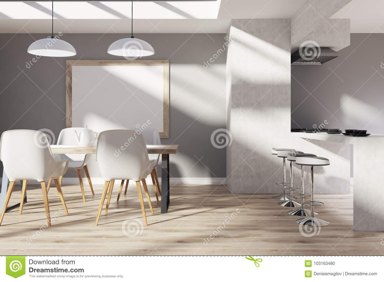 Kitchen Interior With Gray And Concrete Walls A Dining Table Cahirs Bar Stand Stools Wooden Floor Framed Vertical Poster On The Wall
