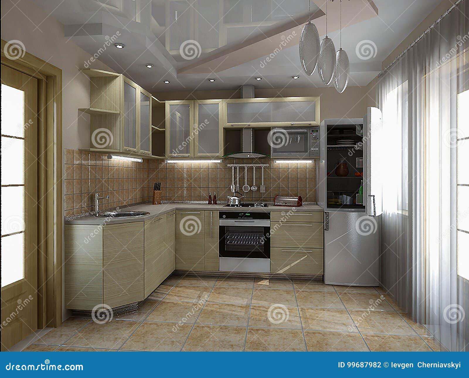 Kitchen Interior Ideas 3d Render Stock Illustration