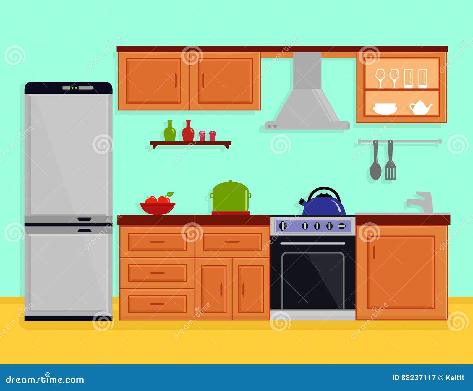 Kitchen Interior With Kitchen Room Furniture Stock Vector ...
