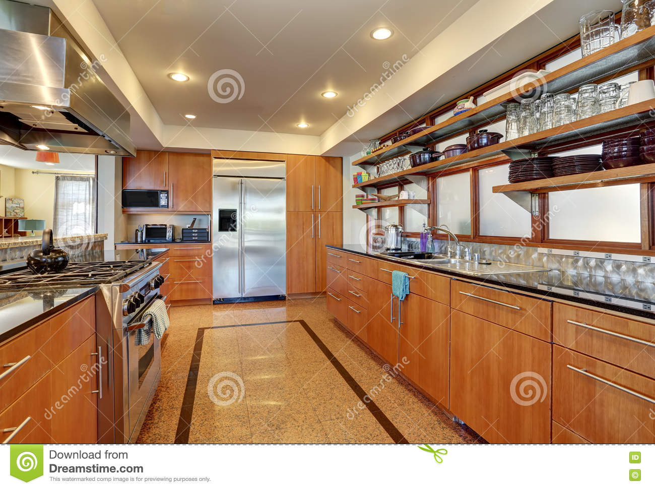 Kitchen Interior With Long Wooden Cabinets And Shelves ...