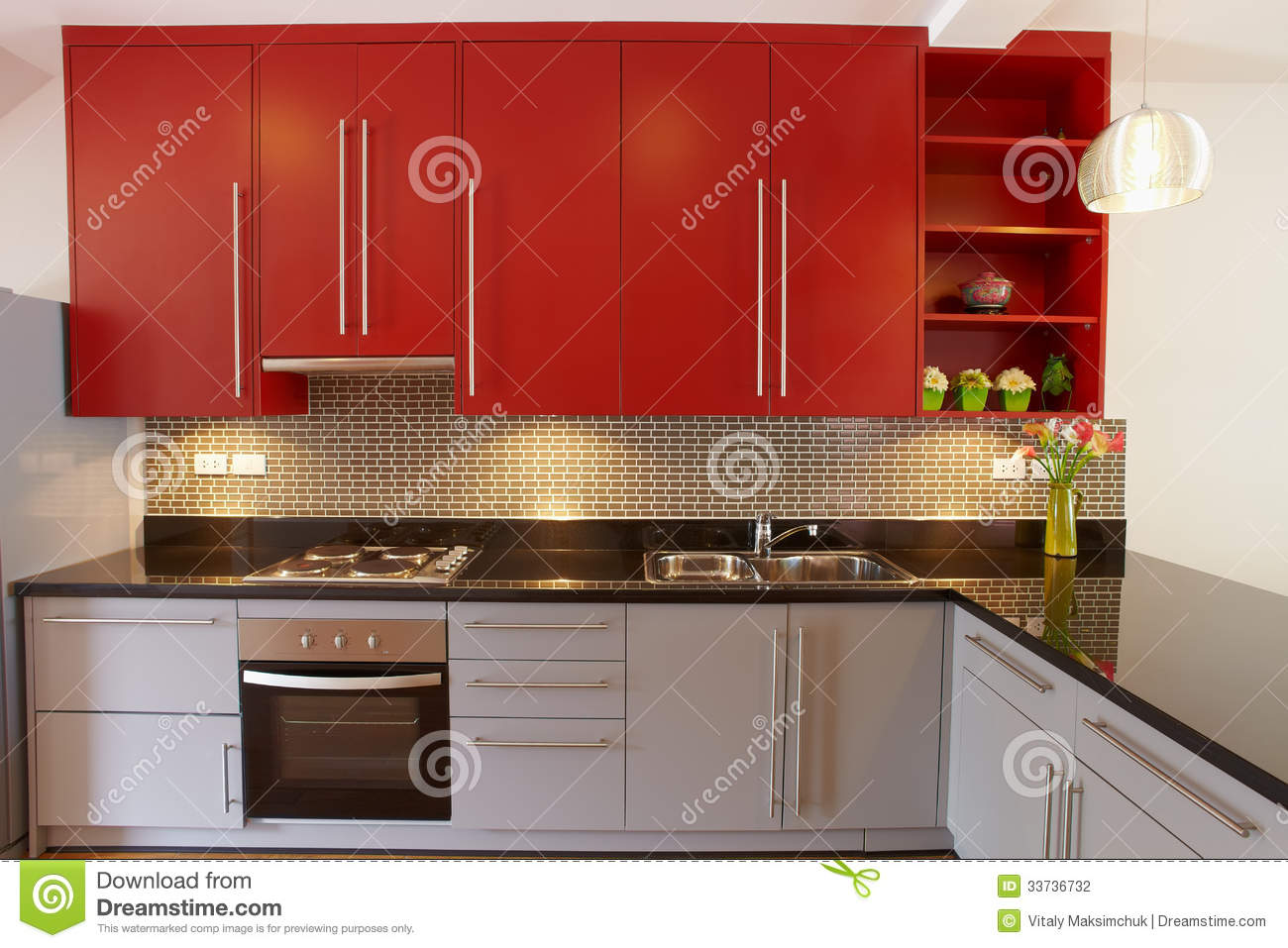 Kitchen interior in modern house b stock photo image for Modern house kitchen