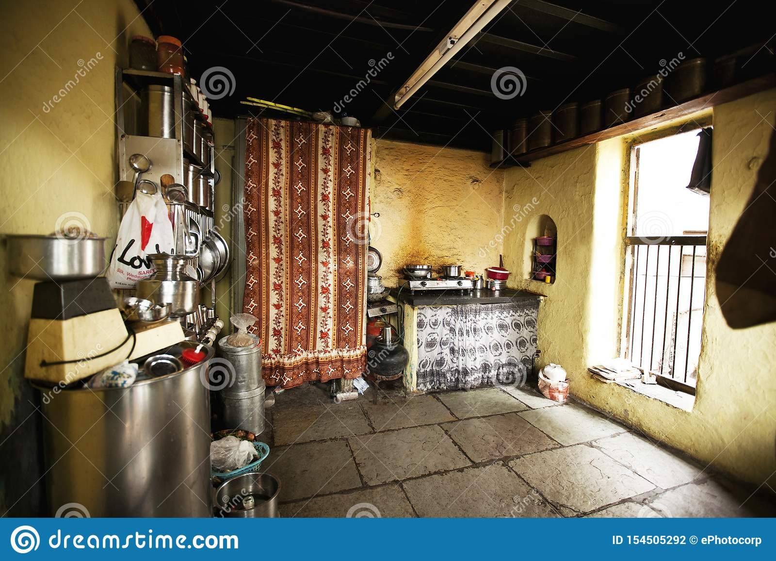 Kitchen interior at old building in Wadas of Pune, India