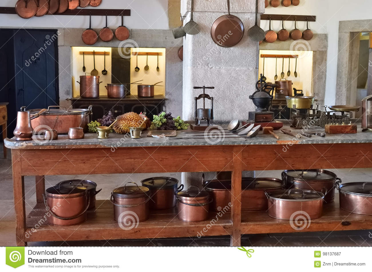 Kitchen interior in the Pena Palace in Sintra, Portugal
