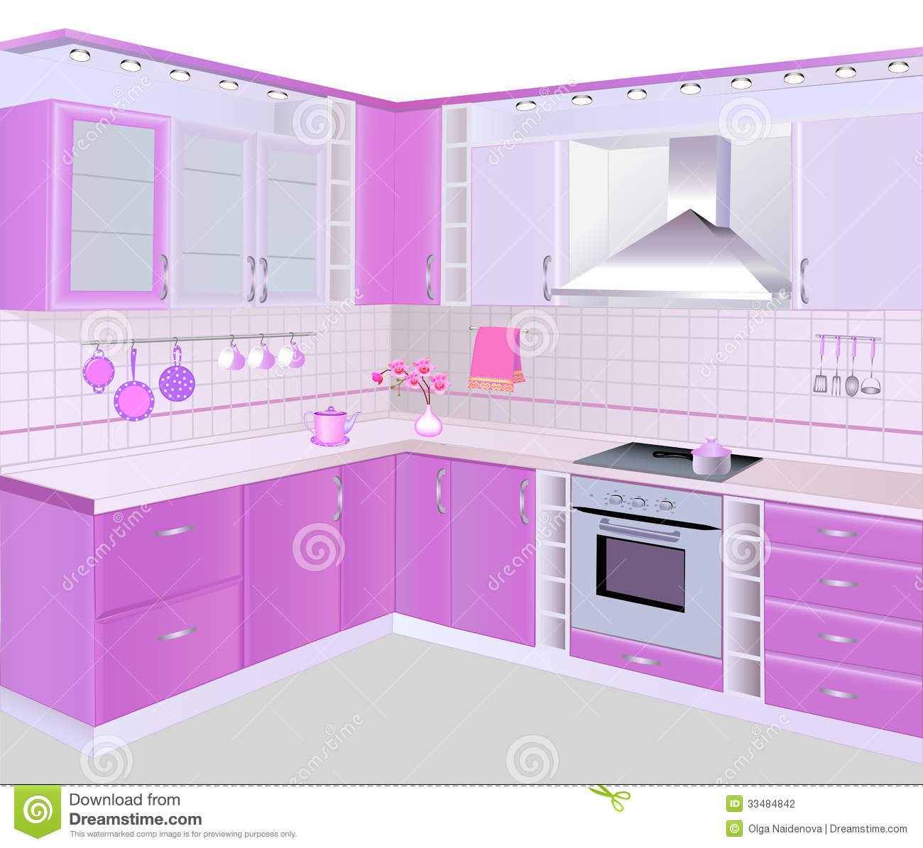 pink kitchen tiles kitchen interior with pink furniture and tiles stock 1503