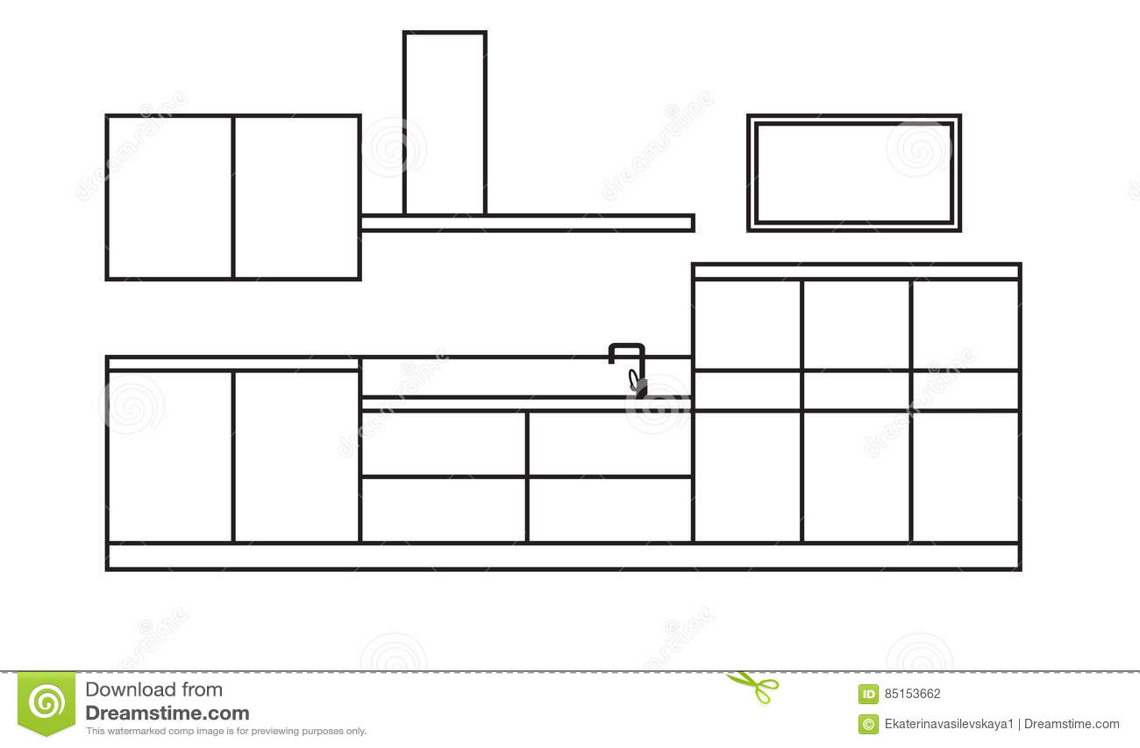 Draft Of Kitchen Vector Illustration 9672936