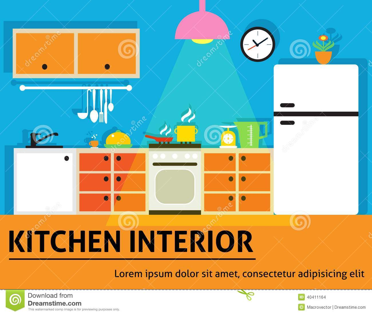 Kitchen interior poster stock vector image of cooking for Kitchen designs that stand the test of time