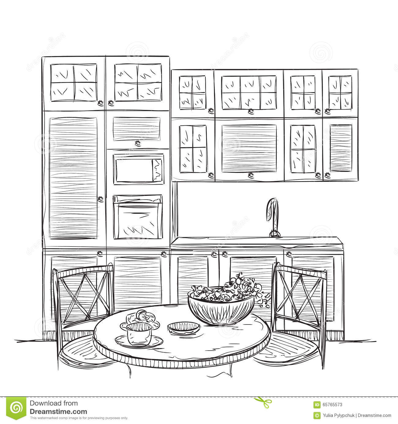 Kitchen Interior Sketch With Dinner Table Stock Vector