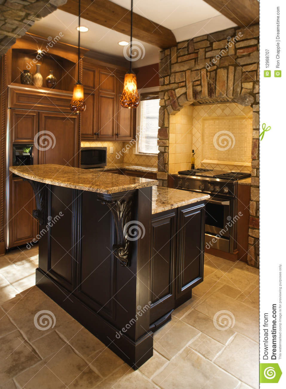 Kitchen Interior With Stone Accents In Affluent Ho Royalty