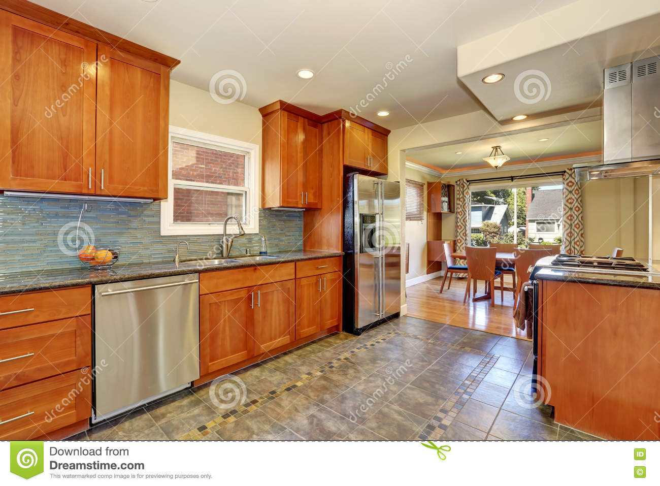 Kitchen Interior With Tile Flooring And Brown Cabinets Stock Photo Image Of Apartment Ceiling 76510092