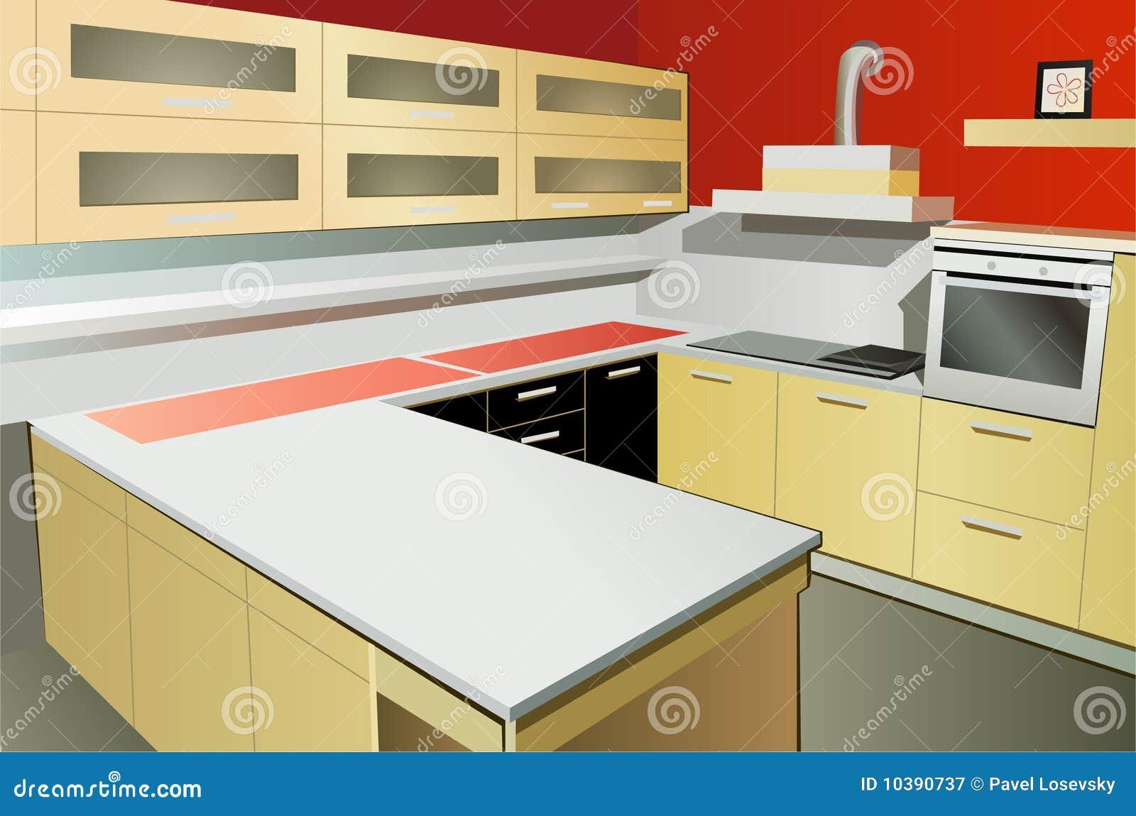 Kitchen Interior Vector Stock Vector Illustration Of Interior