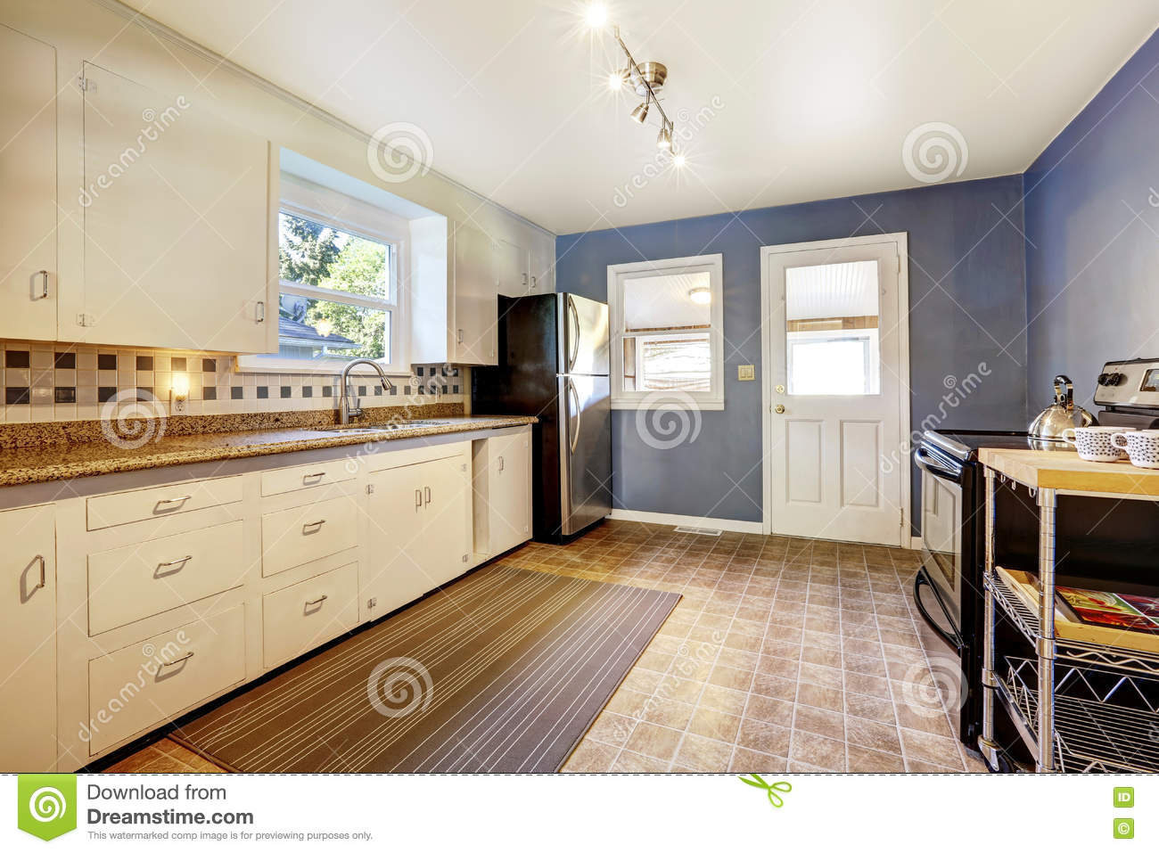 Kitchen Interior With White Cabinets And Bright Navy Walls