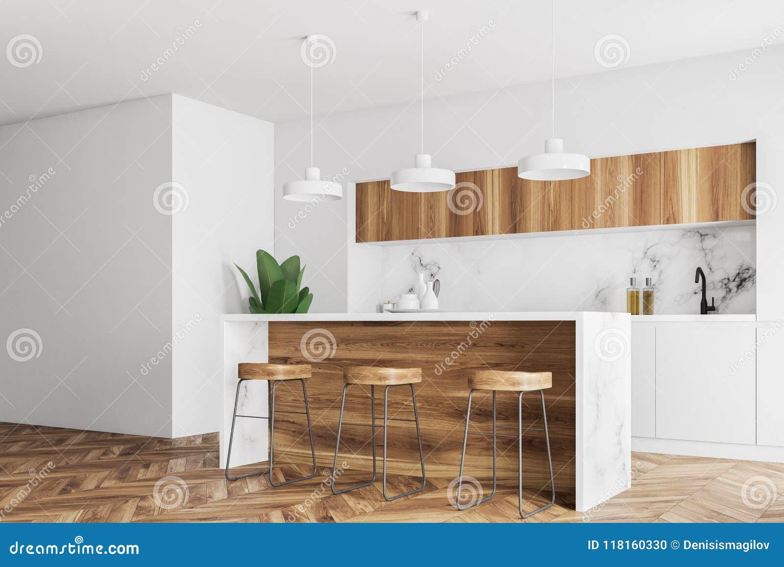Incredible Wooden Bar In A White Kitchen Interior Side View Stock Inzonedesignstudio Interior Chair Design Inzonedesignstudiocom