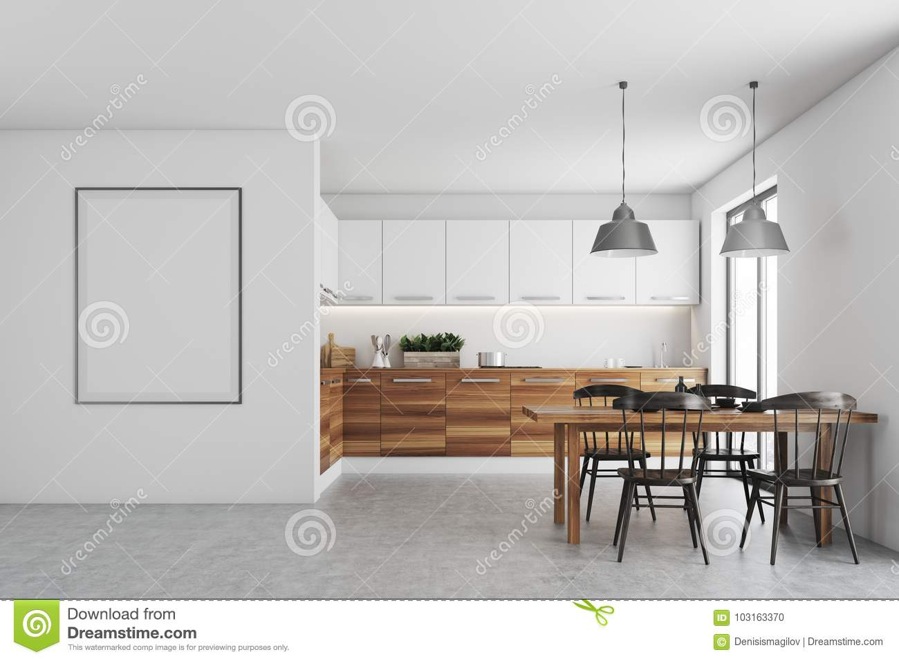 White Dining Room, Poster, Wood Countertops Stock Illustration ...