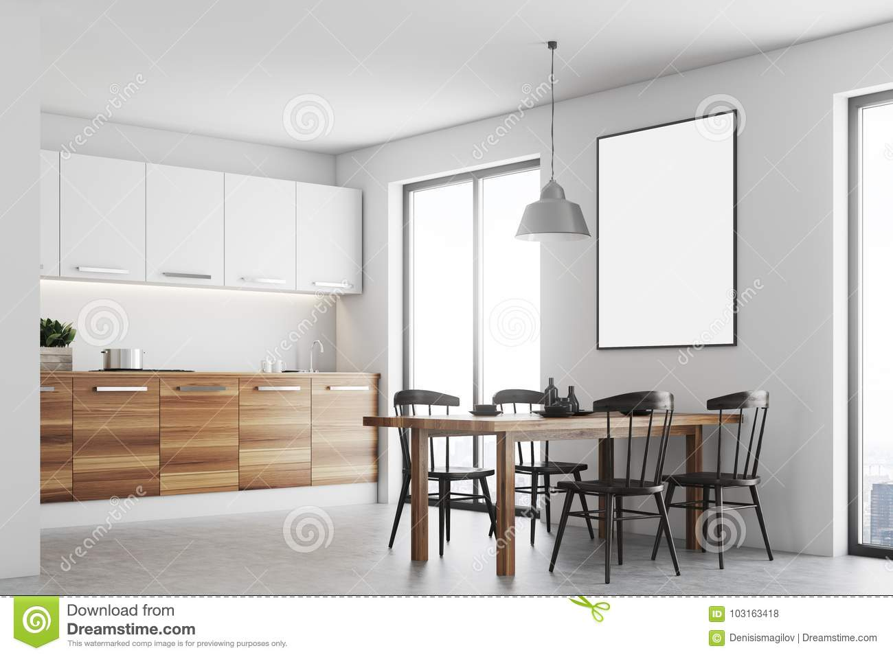 White Dining Room, Wood Countertops Side Stock Illustration ...